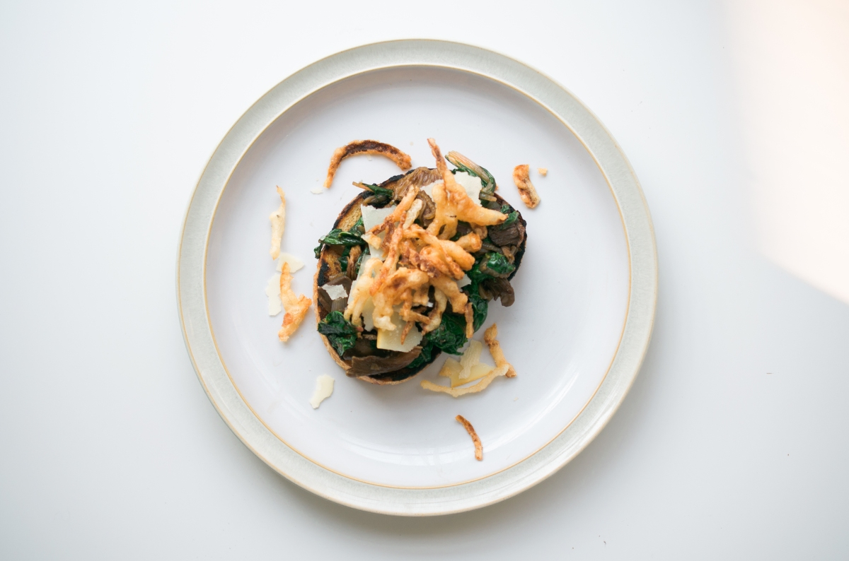 Wild Mushroom and Swiss Chard Toast